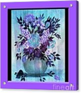 Flowers In A Vase With Lilac Border Acrylic Print