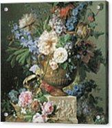 Flowers In An Alabaster Vase Acrylic Print by Gerard Van Spaendonck