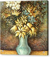 Flowers In Blue Vase - Still Life Oil Acrylic Print