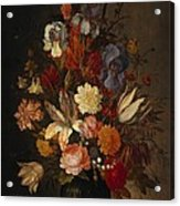 Flowers In Glass Vase With Shells C1625 Acrylic Print