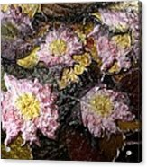 Flowers In Pool Of Autumn Leaves Acrylic Print