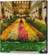 Flowers In Rockefeller Plaza Acrylic Print