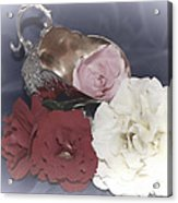 Flowers In Silver Acrylic Print