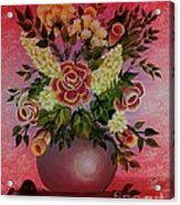Flowers With Red Background Acrylic Print