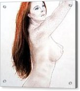 Flowing Long Red Hair And Freckles Acrylic Print