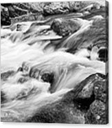Flowing St Vrain Creek Black And White Acrylic Print