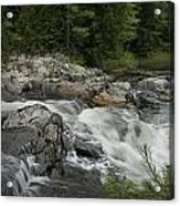 Flowing Stream With Waterfall In Vermont Acrylic Print