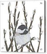 Chickadee Art Hand-torn Newspaper Collage Art By Keiko Suzuki Bless Hue Acrylic Print