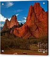 Fluffy Clouds Over Jagged Peaks Acrylic Print