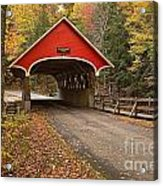 Flume Gorge Covered Bridge Fall Colors Acrylic Print