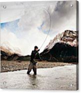 Fly Fishing At The Base Of Fitz Roy Acrylic Print