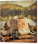 Fly Fishing Equipment  With Vintage Look Acrylic Print