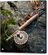 Fly Rod And Reel Detail On Mossy Wet Acrylic Print