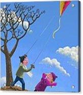Flying Kite On Windy Day Acrylic Print by Martin Davey