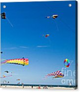 Flying Kites At St Augustine Beach Pier Acrylic Print