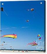 Flying Kites At St Augustine Beach Pier Acrylic Print