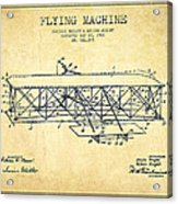 Flying Machine Patent Drawing From 1906 - Vintage Acrylic Print