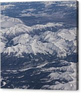 Flying Over The Snow Covered Rocky Mountains Acrylic Print