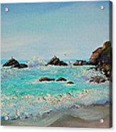 Foamy Ocean Waves And Sandy Shore Acrylic Print