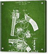 Foehl Revolver Patent Drawing From 1894 - Green Acrylic Print