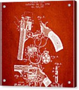 Foehl Revolver Patent Drawing From 1894 - Red Acrylic Print