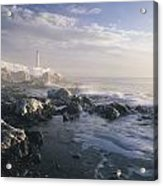 Fog And Rocky Shoreline In Winter With Acrylic Print