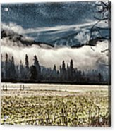 Fog Beyond The Tilled Field  Acrylic Print