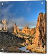 Fog Over Smith Rock Acrylic Print