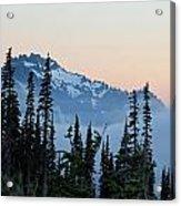Mt. Rainier's Foggy Sunset Acrylic Print