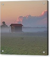 Fog Rolling Over The Bogs At Sunset Acrylic Print