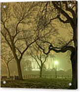 Foggy Approach To The Lincoln Memorial Acrylic Print