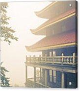 Foggy At The Reading Pagoda Acrylic Print