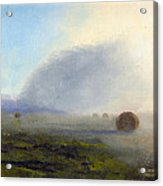 Foggy Bales Acrylic Print by Tommy Thompson