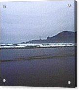 Foggy Beach And Lighthouse Acrylic Print