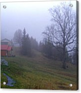Foggy Cabin And Hillside Acrylic Print