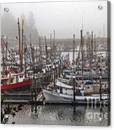 Foggy Ilwaco Port Acrylic Print by Robert Bales
