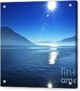 Foggy Lake With Sun Acrylic Print