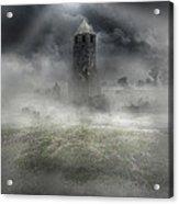 Foggy Landscape With Dark Tower Acrylic Print