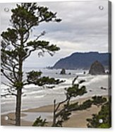 Foggy Morning At Tolovana Beach Oregon 2 Acrylic Print