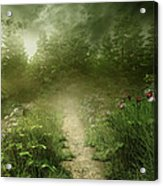 Foggy Road Art Acrylic Print by Boon Mee