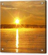 Foggy Sunrise Over Manhassett Bay Acrylic Print by John Telfer