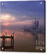 Foggy Sunset Over Swansboro Acrylic Print by Benanne Stiens
