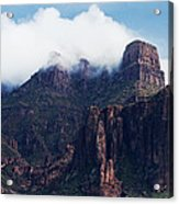 Foggy Superstition Mountains   Acrylic Print