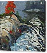 Foggy Whitefish Rapids Acrylic Print