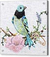 Folk Art Bird Embroidery Illustration Acrylic Print