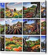 Folk Art Seasonal Seasons Sampler Greetings Rural Country Farm Collection Farms Landscape Scene Acrylic Print
