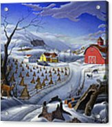 Folk Art Winter Landscape Acrylic Print