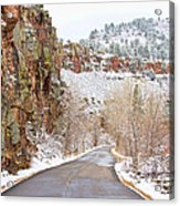 Follow The Red Rock Ridge Winter Road  Acrylic Print