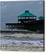 Folly Beach Pier During Sandy Acrylic Print