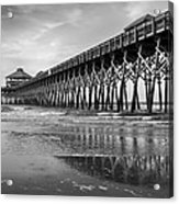 Folly Beach Pier In Black And White Acrylic Print